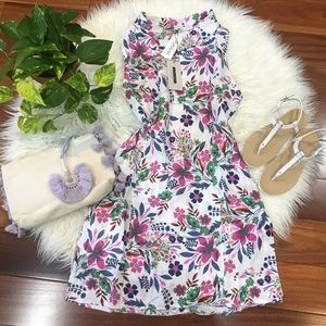 New🌿Linen Floral Print Cowl Neck Dress